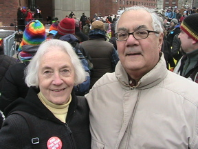 Jean Kellaway and Barney Frank at the DOMA protest