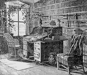 A drawing of Parker's study