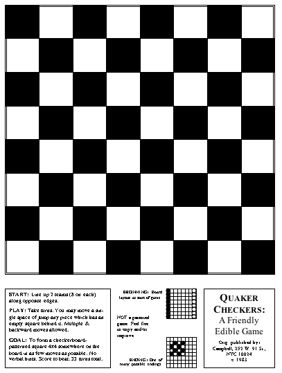 photograph about Printable Checkers Board called Quaker Checkers Nonetheless Yet another Unitarian Universalist